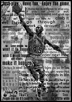 Michael Jordan Portrait Painting - Michaeil Air Jordan Motivational Inspirational Independent Quotes 1 by Diana Van