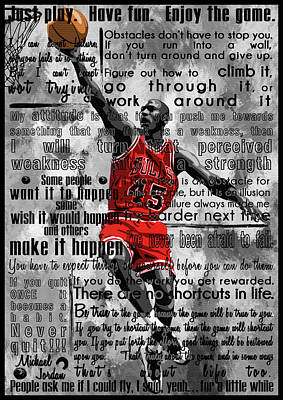 Michael Jordan Portrait Painting -  Michael Air Jordan Motivational Inspirational Independent Quotes 2 by Diana Van