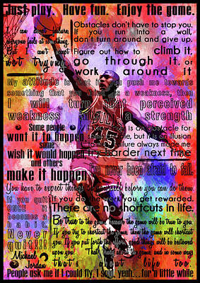 Michael Jordan Portrait Painting - Michael Air Jordan Motivational Inspirational Independent Quotes 3 by Diana Van