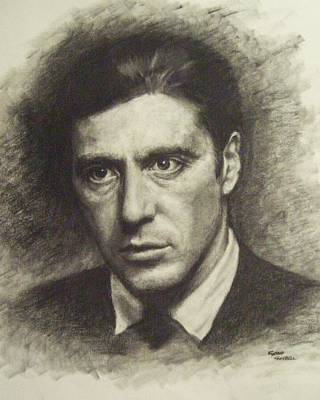Michael Corleone Drawing - Michael Corleone by Cynthia Campbell