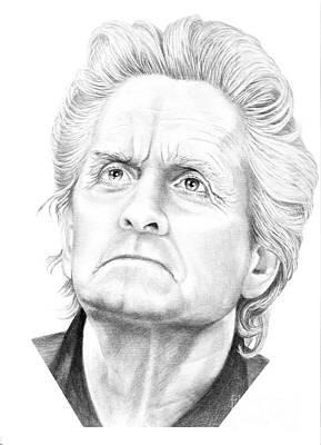 Famous People Drawing - Michael Douglas by Murphy Elliott