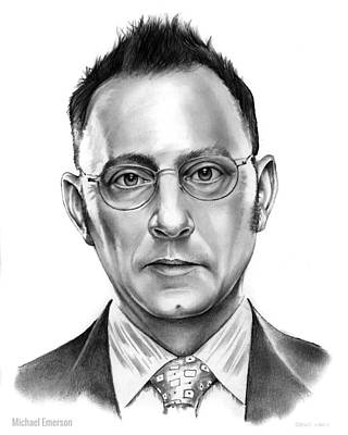 Finch Drawing - Michael Emerson by Greg Joens