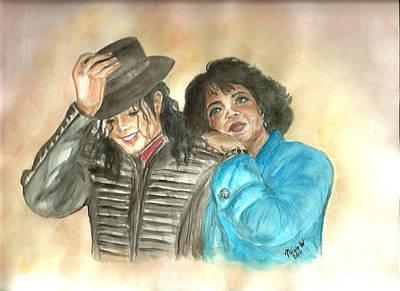 Michael Jackson Painting - Michael Jackson And Oprah by Nicole Wang