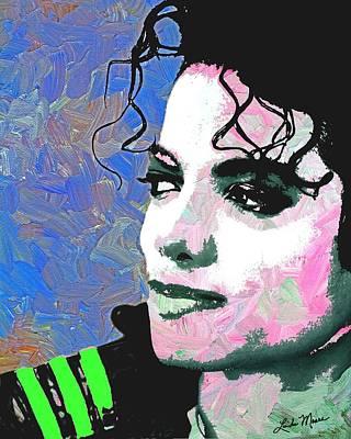 Portraits Digital Art - Michael Jackson Blue And Pink by Linda Mears