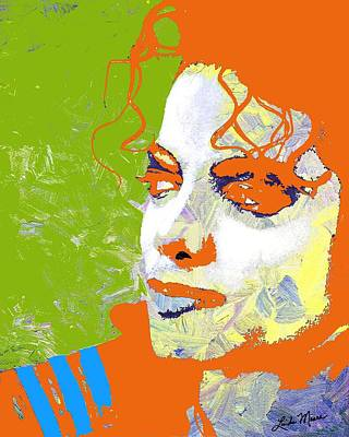 Celebrities Digital Art - Michael Jackson Green And Orange by Linda Mears