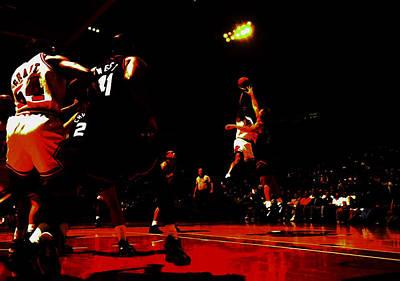 Sneakers Mixed Media - Michael Jordan 3 Seconds Left by Brian Reaves