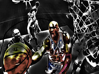 Patrick Ewing Mixed Media - Michael Jordan Got Em Looking by Brian Reaves