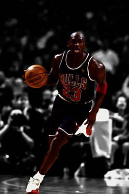 Michael Jordan In Open Court Print by Brian Reaves