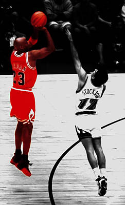 Michael Jordan Over John Stockton Print by Brian Reaves