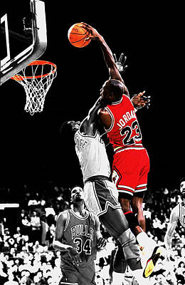 Patrick Ewing Mixed Media - Michael Jordan Power Slam by Brian Reaves