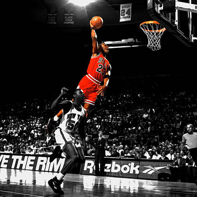 Patrick Ewing Mixed Media - Michael Jordan Suspended In Air by Brian Reaves