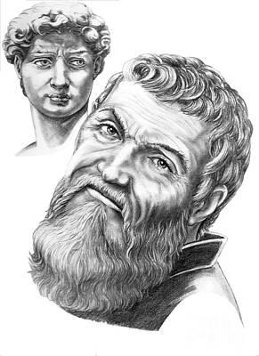 Michelangelo And David Print by Murphy Elliott