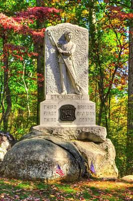Michigan At Gettysburg - 5th Michigan Volunteer Infantry - In The Rose Woods Near The Wheatfield Print by Michael Mazaika