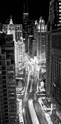 Winter Night Photograph - Michigan Avenue by George Imrie Photography