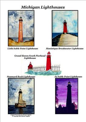 Michigan Lighthouses Collage Print by Michael Vigliotti