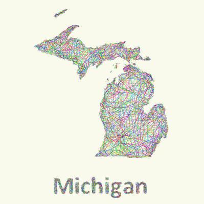 Michigan State Drawing - Michigan Line Art Map by David Zydd