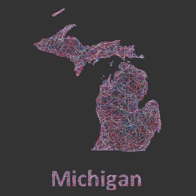 Michigan State Drawing - Michigan Map by David Zydd