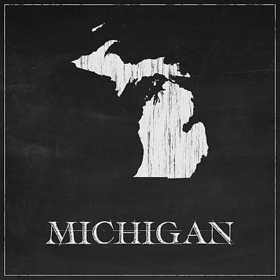 Michigan State Digital Art - Michigan Map by Finlay McNevin