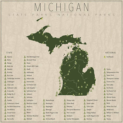 Michigan State Digital Art - Michigan Parks by Finlay McNevin