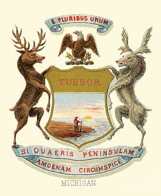 Michigan State Painting - Michigan State Arms Of The Union by Celestial Images