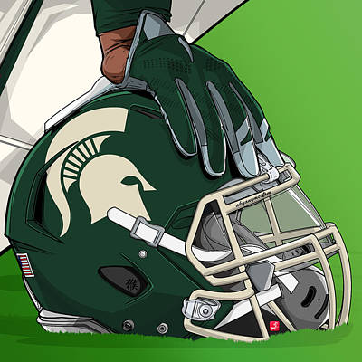 Michigan State Drawing - Michigan State College Football by Akyanyme