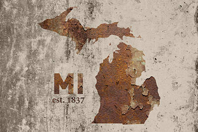 Michigan State Map Industrial Rusted Metal On Cement Wall With Founding Date Series 005 Print by Design Turnpike
