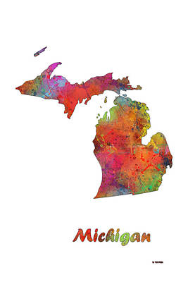 Michigan State Digital Art - Michigan State Map by Marlene Watson