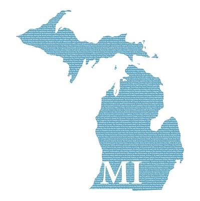 Michigan State Mixed Media - Michigan State Map With Text Of Constitution by Design Turnpike