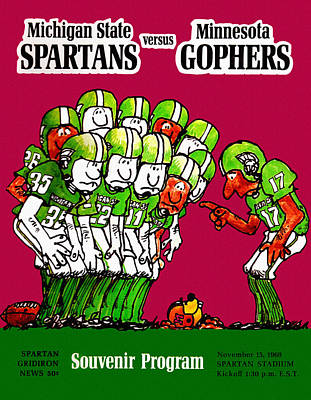 Michigan State Painting - Michigan State Spartans 1969 Football Program by Big 88 Artworks