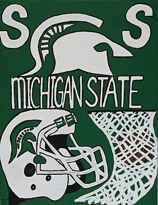 Michigan State Drawing - Michigan State Spartans by Jonathon Hansen
