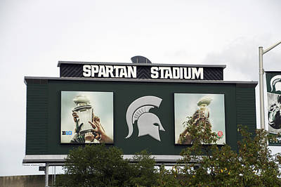 Bed Quilts Mixed Media - Michigan State University Spartan Stadium Signage by Thomas Woolworth