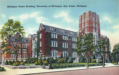 University Of Michigan Mixed Media - Michigan Union Building University Of Michigan Ann Arbor by Steven Covieo