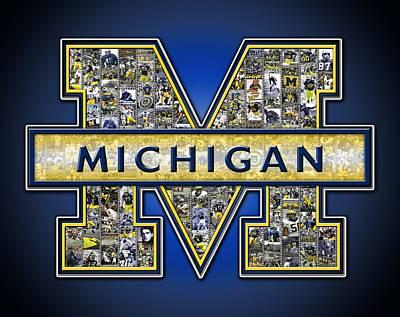 Michigan Wolverines Football Print by Fairchild Art Studio