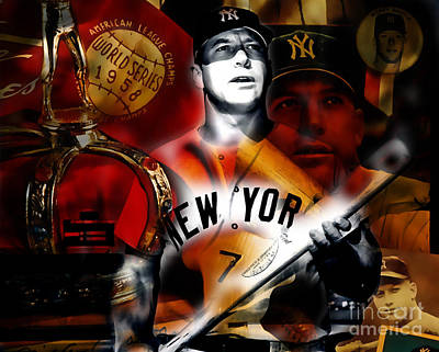 Mickey Mantle Mixed Media - Mickey Mantle Collection by Marvin Blaine