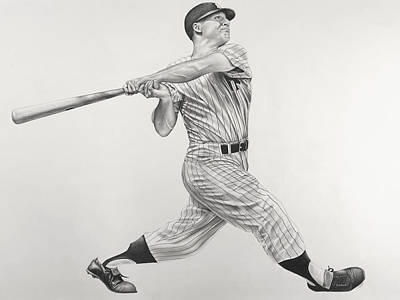 Mlb Hall Of Fame Drawing - Mickey Mantle by Jon Cotroneo