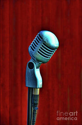Red Photograph - Microphone by Jill Battaglia