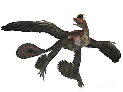 Microraptor Painting - Microraptor Dinosaur Profile by Corey Ford