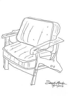 Mid Century Furniture Drawing - Mid Century Chair by Sandra Mucha