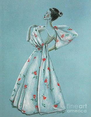 Mid-century Mode -- Drawing Of 1950's Fashion Original by Jayne Somogy