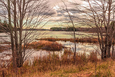 Winthrop Photograph - November Afternoon, Annabessacook Lake by Laurie Breton