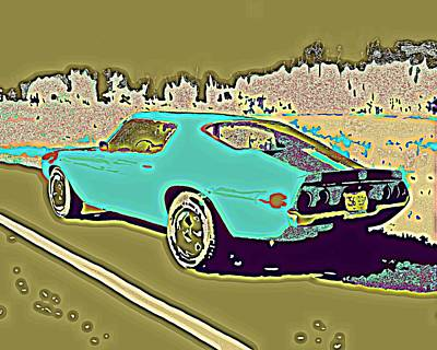 Road Rod Painting - Middle Aged Crazy Two Aqua And Olive by Sheri Buchheit