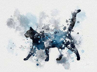 Adorable Mixed Media - Midnight Cat by Rebecca Jenkins