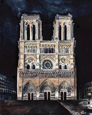 Notre Dame Cathedral Painting - Midnight In Paris At Notre Dame Cathedral France by Laura Row
