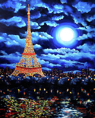 Eiffel Tower Painting - Midnight In Paris by Laura Iverson