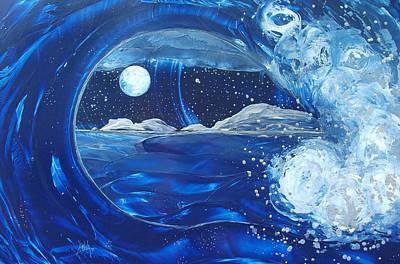 Encaustic Painting - Midnight Moon by Danita Cole