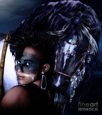 Pinto Digital Art - Midnight Ride by Shanina Conway