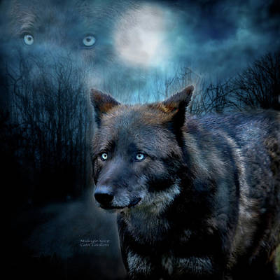 Animal Art Giclee Mixed Media - Midnight Spirit by Carol Cavalaris