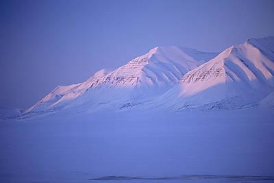 Midnight Sunset On Polar Mountains Print by Gordon Wiltsie