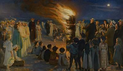 Bonfire Painting - Midsummer Eve Bonfire On Skagen Beach by Peder Severin Kroyer