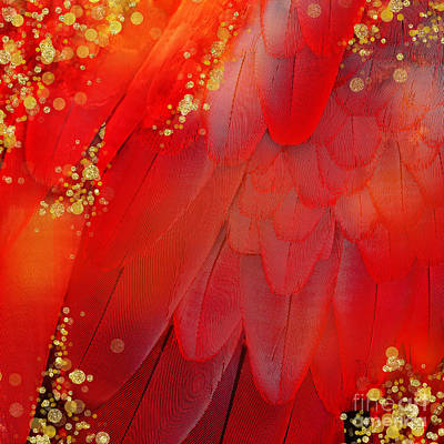 Midsummer Magik Fantasy Abstract Red Feathers, Gold Sparkles Print by Tina Lavoie